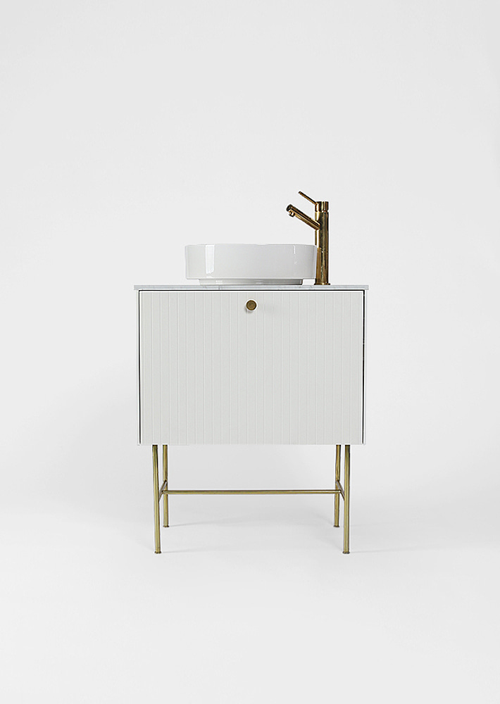 100001. White Wash Cabinet / White Sink / Gold Faucet