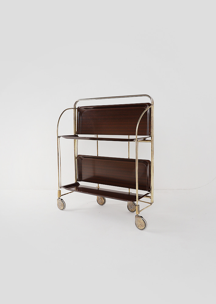 100069. mid-century modern folding trolley_wood