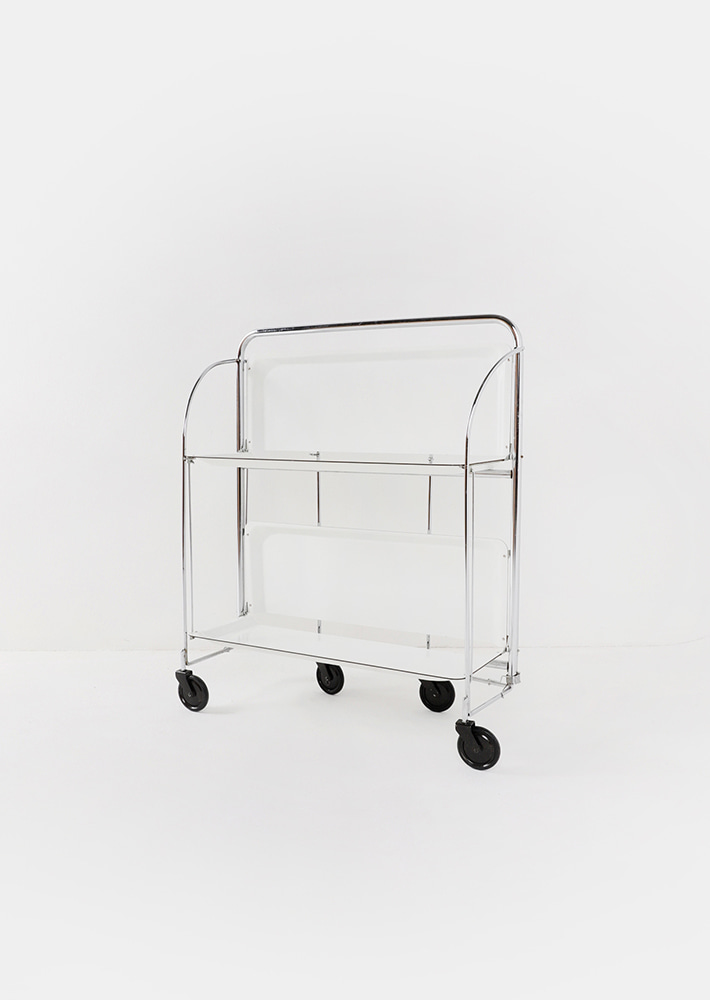 100068. mid-century modern folding trolley_white